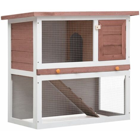 Outdoor Rabbit Hutch 1 Door Brown Wood