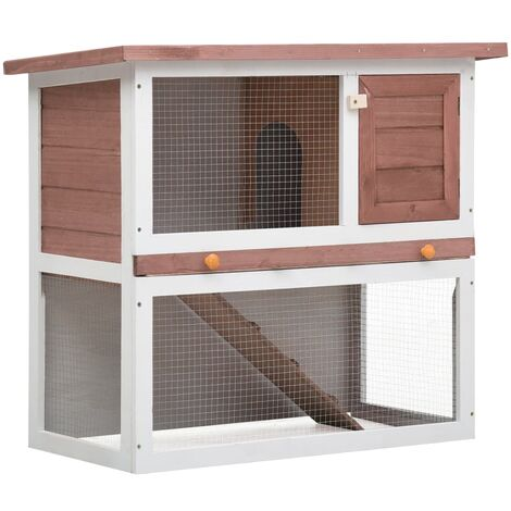 Outdoor Rabbit Hutch 1 Door Brown Wood - Brown