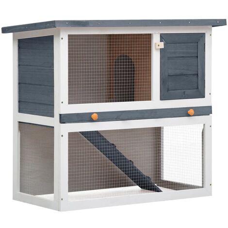 Outdoor Rabbit Hutch 1 Door Grey Wood