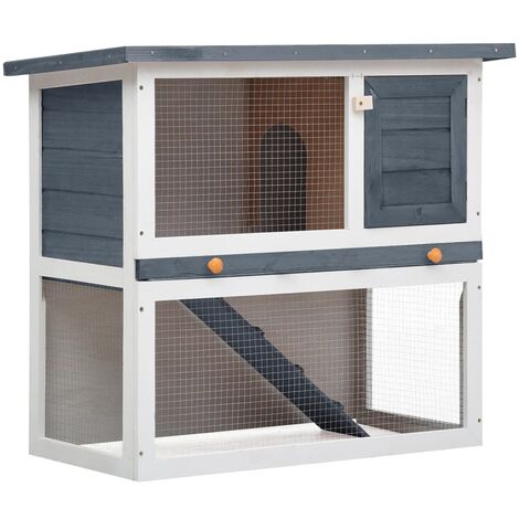 Outdoor Rabbit Hutch 1 Door Grey Wood - Grey