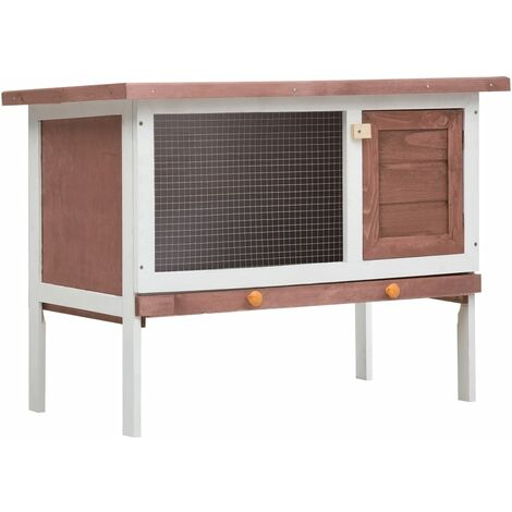 Outdoor Rabbit Hutch 1 Layer Brown Wood - Brown