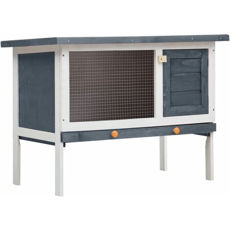 Outdoor Rabbit Hutch 1 Layer Grey Wood - Grey