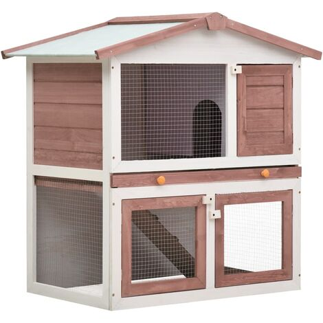 Outdoor Rabbit Hutch 3 Doors Brown Wood