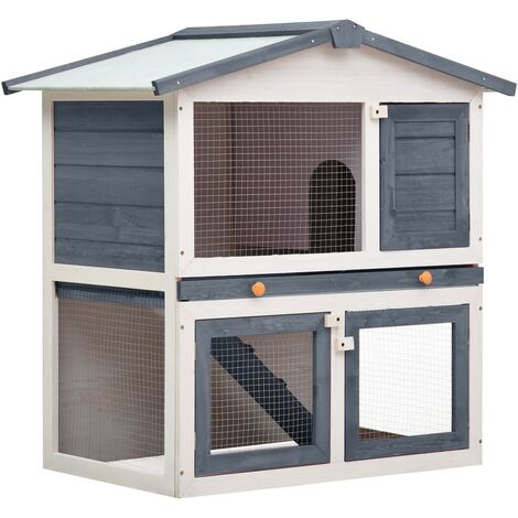 Outdoor Rabbit Hutch 3 Doors Grey Wood