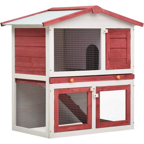 Outdoor Rabbit Hutch 3 Doors Red Wood - Red