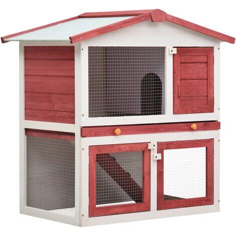 Outdoor Rabbit Hutch 3 Doors Red Wood - Red