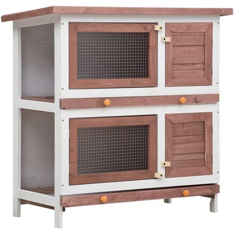 Outdoor Rabbit Hutch 4 Doors Brown Wood