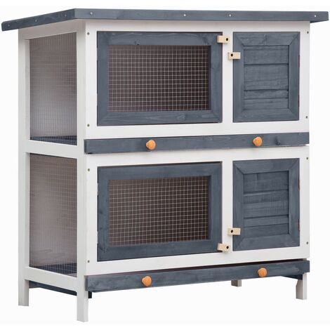 Outdoor Rabbit Hutch 4 Doors Grey Wood - Grey