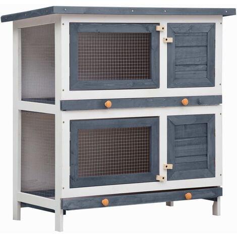 Outdoor Rabbit Hutch 4 Doors Grey Wood - Grey