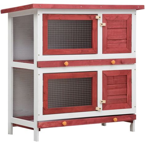 Outdoor Rabbit Hutch 4 Doors Red Wood - Red