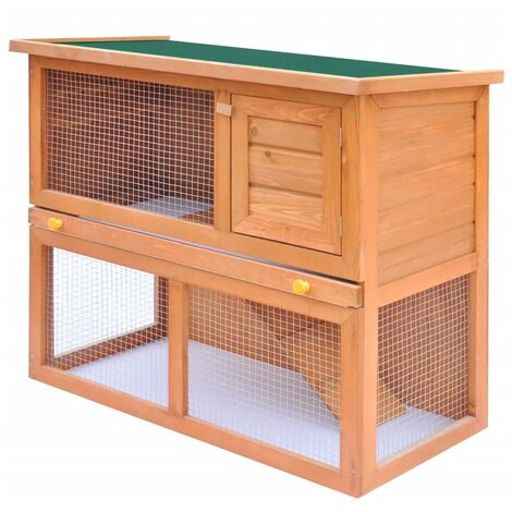 Outdoor Rabbit Hutch Small Animal House Pet Cage 1 Door Wood - Brown