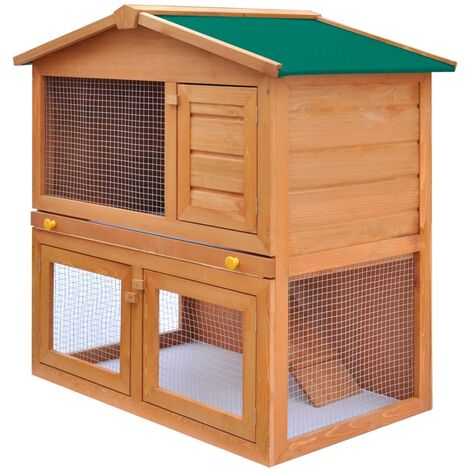 Outdoor Rabbit Hutch Small Animal House Pet Cage 3 Doors Wood - Brown