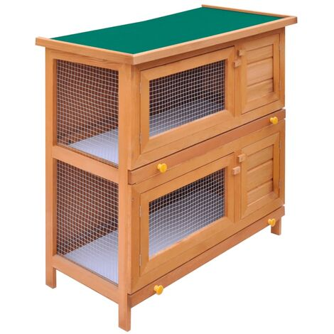 Outdoor Rabbit Hutch Small Animal House Pet Cage 4 Doors Wood - Brown