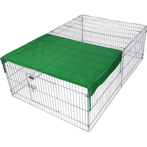 Outdoor Rabbit Open Enclosure 122x95x58cm Guinea Pig Run, Cage with Sun Protection Cover