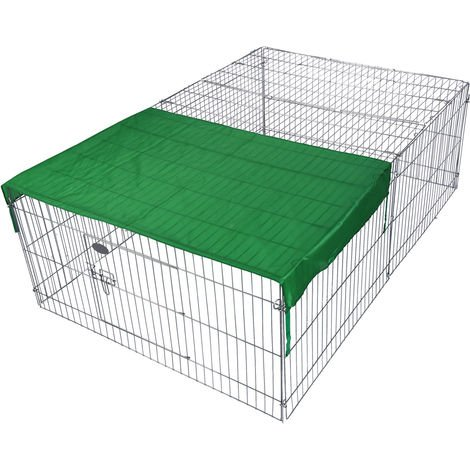 Outdoor Rabbit Open Enclosure 144x116x58cm Guinea Pig, Cage with Sun Protection Cover