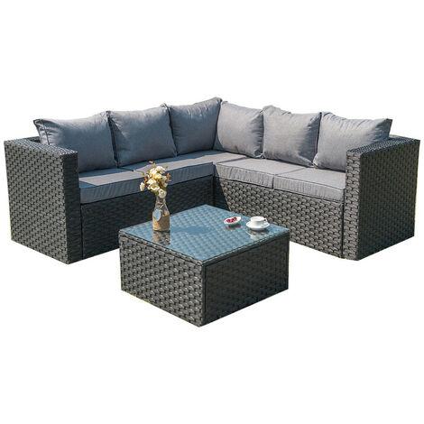 Outdoor Rattan Garden Furniture 5 Seater Corner Sofa Patio Set Black