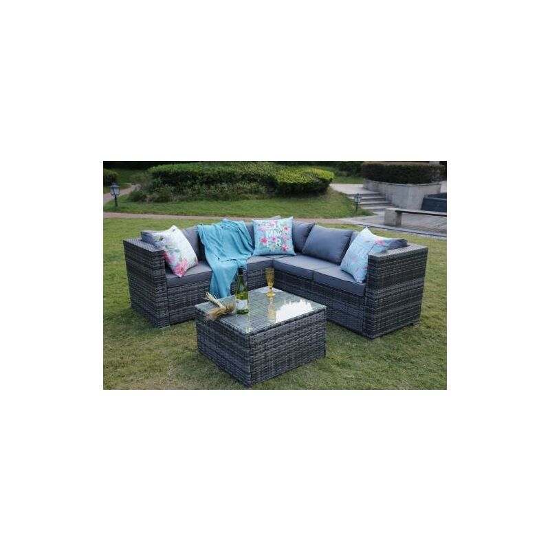 Fantastic Outdoor Rattan Garden Furniture 5 Seater Corner Sofa Patio Set Grey Download Free Architecture Designs Aeocymadebymaigaardcom