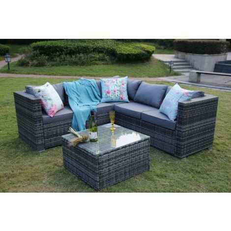 Outdoor Rattan Garden Furniture 5 Seater Corner Sofa Patio Set Grey