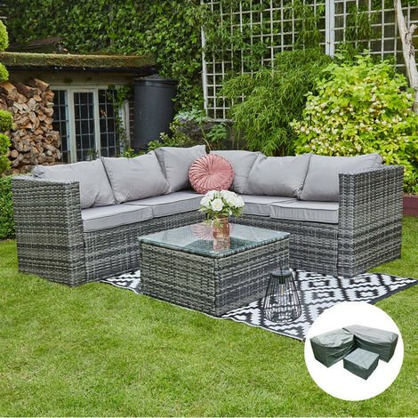 Outdoor Rattan Garden Furniture Vancouver 5 Seater Corner Grey Sofa Patio Set With Raincover Grey