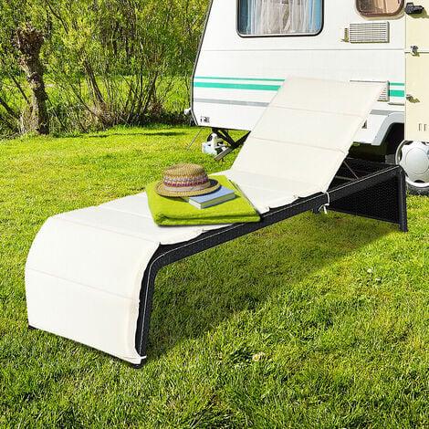 "main image of ""Outdoor Rattan Reclining Chair Patio Chaise Lounge Wicker Sofa Sun Bed W/Cushion"""