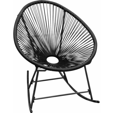 Outdoor Rocking Chair Black Poly Rattan - Black