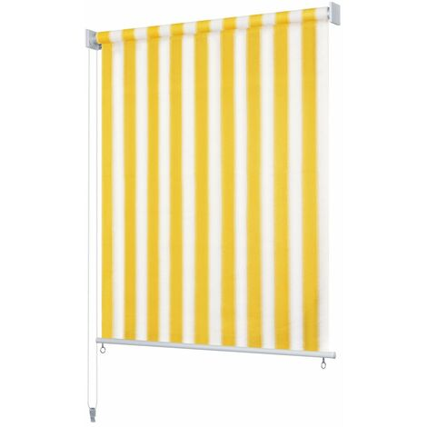 Outdoor Roller Blind 100x140 cm Yellow and White Stripe