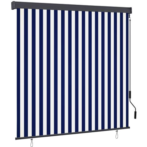 Outdoor Roller Blind 170x250 cm Blue and White