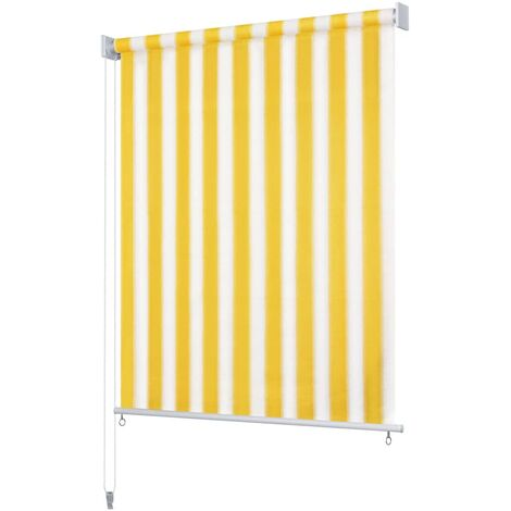 Outdoor Roller Blind 180x230 cm Yellow and White Stripe