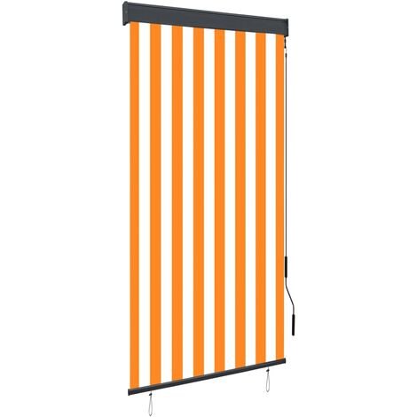 Outdoor Roller Blind 80x250 cm White and Orange