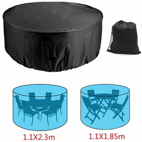 Outdoor Round Garden Furniture Cover Patio Garden Table Chair Shelter Anti-UV Snow Protector (110X230cm)