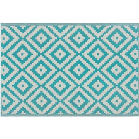 Outdoor Rug 120 x 180 cm Geometric Pattern Terrace Balcony Patio Blue Hapur
