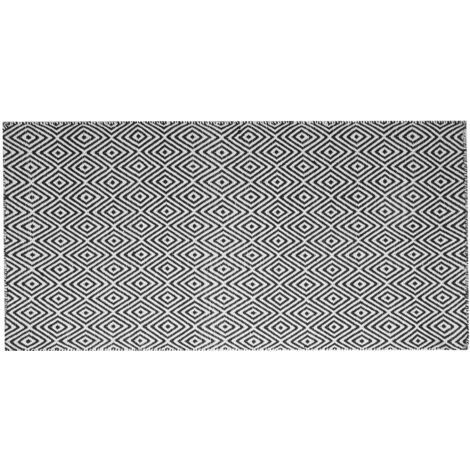 Outdoor Rug 80 x 150 cm Black and White IMIRCIK