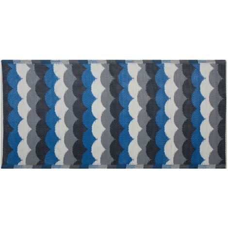 Outdoor Rug 90 x 180 cm Blue and Grey BELLARY