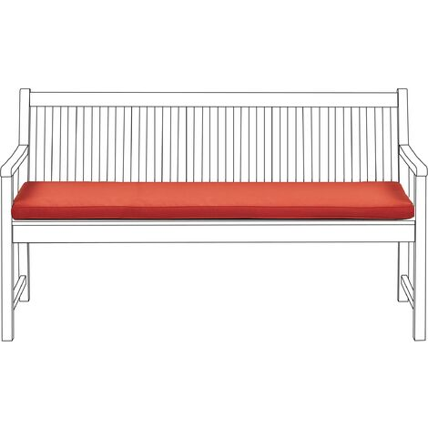 Outdoor Seat Bench Cushion Pad Polyester Water Resistant 152 cm Red Vivara