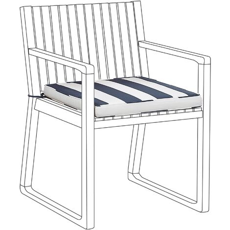 Outdoor Seat Pad Cushion Navy Blue and White SASSARI