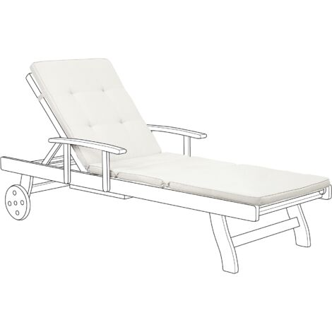 Outdoor Seat Pad Lounger Cushion Pad Off-White Fabric Toscana / Java