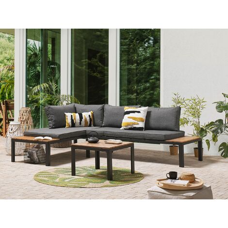 "main image of ""Outdoor Set Modular Sofa Cushions Coffee Table Grey Light Wood Pienza"""