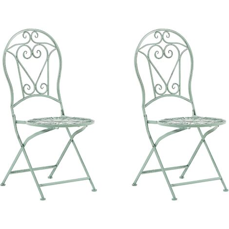 """main image of """"Outdoor Set of 2 Chairs Green Metal Vintage Ornaments Albinia"""""""