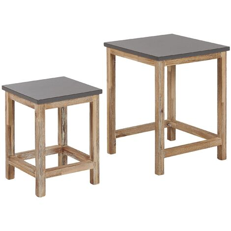 "main image of ""Outdoor Set of 2 Nesting Tables Grey Concrete Top Light Acacia Wood Base Ostuni"""