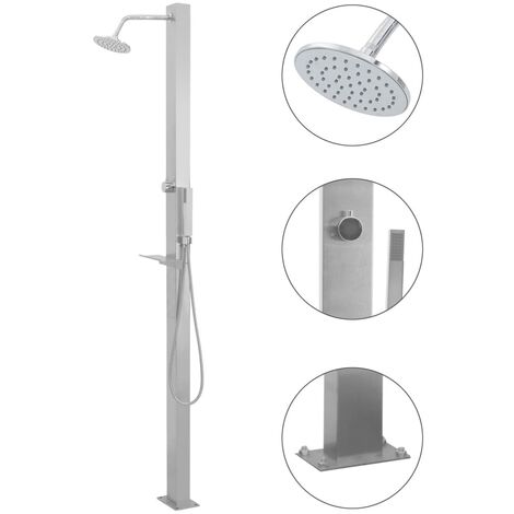 Outdoor Shower Stainless Steel Straight - Silver