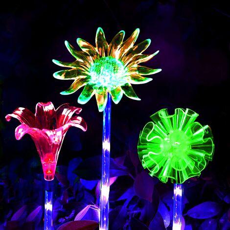 "main image of ""Outdoor Solar Flower Lights, Set of 3 Sunflower Lily Garden Decorations, Solar Garden Light, Color Changing LED Garden Light (IP65 Waterproof For)"""