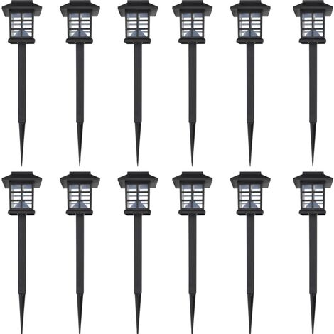 Outdoor Solar Lamp LED Light 12 pcs Spike 8,6 x 8,6 x 38 cm - Black