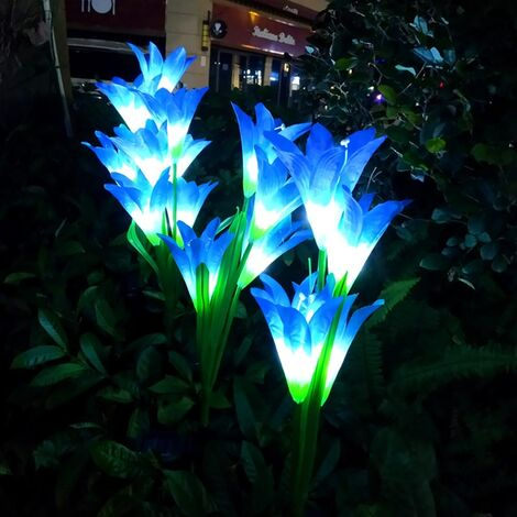 Outdoor Solar Lamp LED Light Lily Flower Stake Garden Path Party Yard Patio Lamps