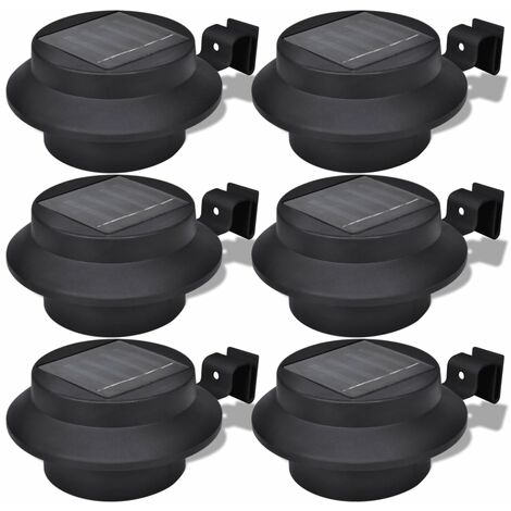 Outdoor Solar Lamp Set 6 pcs Fence Light Gutter Light Black - Black
