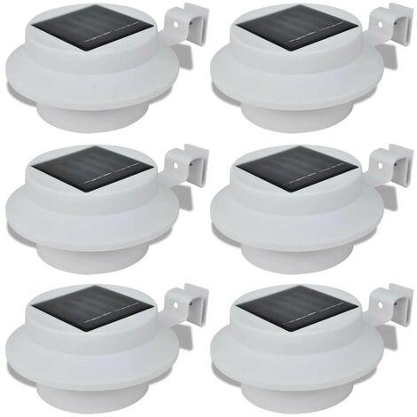 Outdoor Solar Lamp Set 6 pcs Fence Light Gutter Light White VD26385
