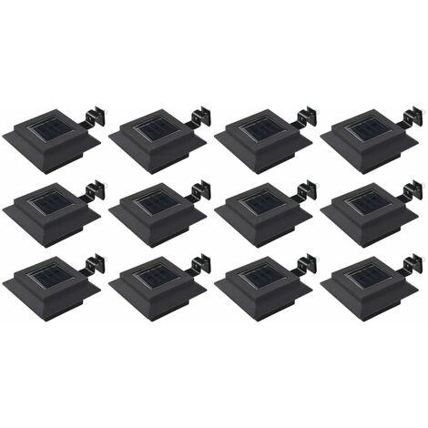 Outdoor Solar Lamps 12 pcs LED Square 12 cm Black