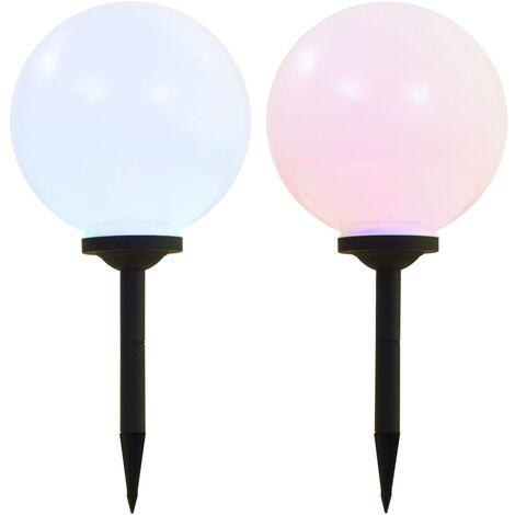 Outdoor Solar Lamps 2 pcs LED Spherical 30 cm RGB