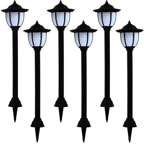 Outdoor Solar Lamps 6 pcs LED Black
