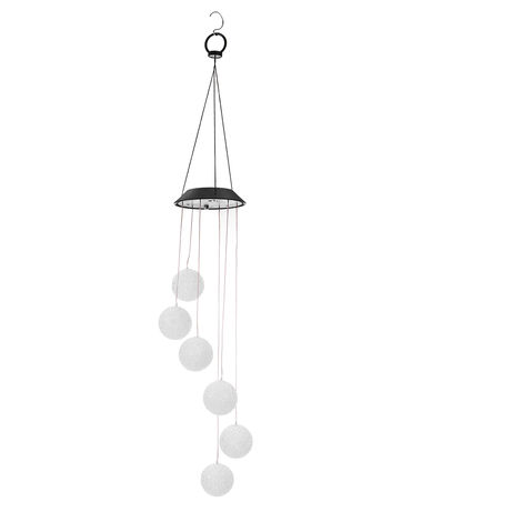Outdoor Solar Led Wind Chimes Clear Color Change Wind Bell Hanging Spiral Chain Lamp Patio Garden Decoration