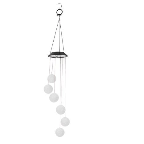 Outdoor Solar Led Wind Chimes Clear Color Change Wind Bell Hanging Spiral Chain Lamp Patio Garden Decoration Hasaki